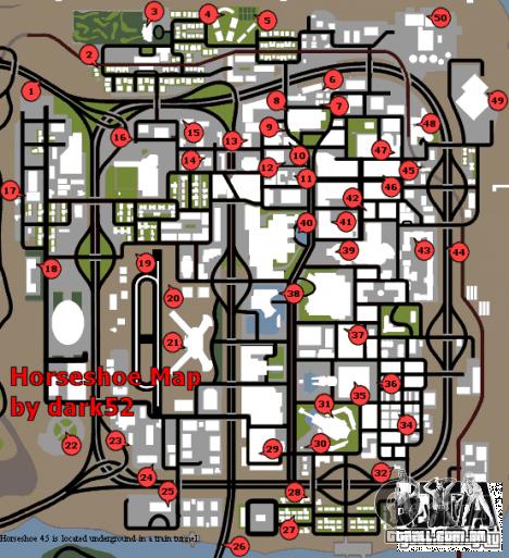 Mapa de ferraduras para GTA San Andreas