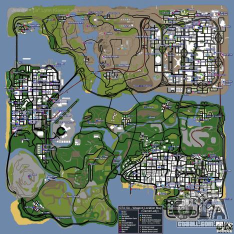 Mapa de armas, armaduras, emblemas policiais, presentes para GTA San Andreas