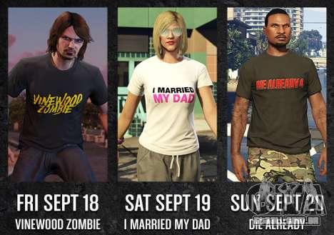 GTA Online Freemode Eventos de fim de Semana exclusiva T-shirts