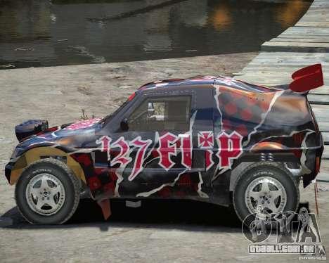Mitsubishi Pajero Proto Dakar vinil 3 para GTA 4 vista interior