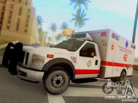 Ford F350 Super Duty Chicago Fire Department EMS para GTA San Andreas esquerda vista