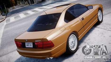 BMW 850i E31 1989-1994 para GTA 4 traseira esquerda vista
