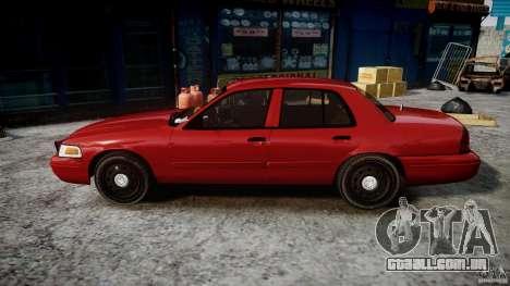 Ford Crown Victoria Detective v4.7 red lights para GTA 4 esquerda vista