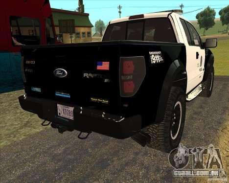 Ford Raptor Police para GTA San Andreas vista traseira