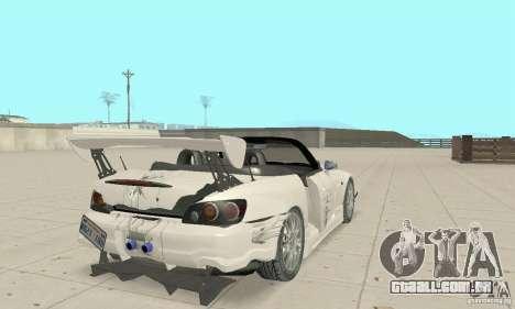 Honda S2000 Cabrio West Tuning para GTA San Andreas vista inferior