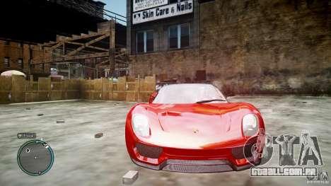 Porsche 918 Spyder Concept para GTA 4 vista interior