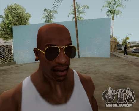 Óculos de sol aviador marrom para GTA San Andreas por diante tela