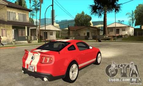 Ford Mustang Shelby GT500 2011 para GTA San Andreas vista traseira