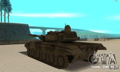 Tanque t-90 para GTA San Andreas traseira esquerda vista