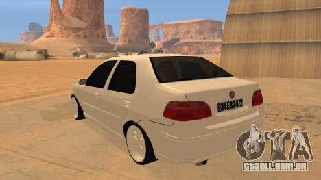 Fiat Albea para GTA San Andreas traseira esquerda vista