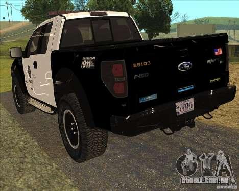 Ford Raptor Police para GTA San Andreas vista direita