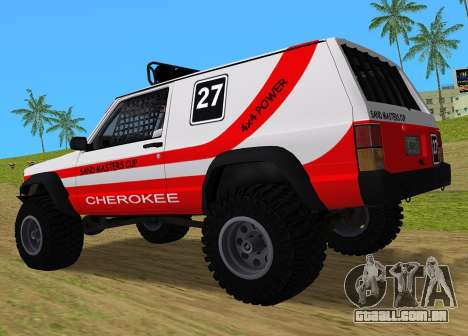 Jeep Cherokee 1984 Sandking para GTA Vice City vista traseira esquerda