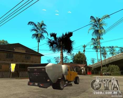 Caminhão de limpeza para GTA San Andreas traseira esquerda vista