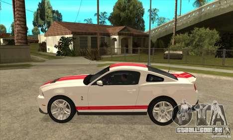 Ford Mustang Shelby GT500 2011 para GTA San Andreas traseira esquerda vista
