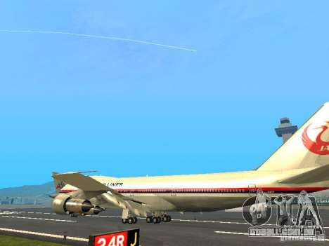 Boeing 747-100 Japan Airlines para GTA San Andreas traseira esquerda vista