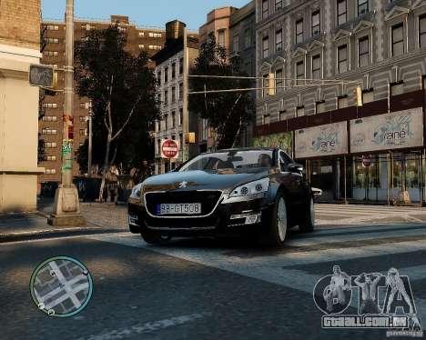Pegeout 508 v2.0 para GTA 4 vista interior