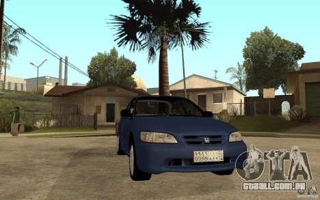 Honda Accord 2001 beta1 para GTA San Andreas vista traseira