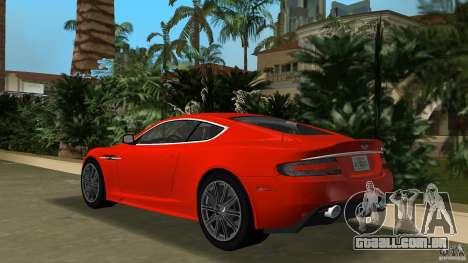 Aston Martin DBS V12 para GTA Vice City vista traseira esquerda