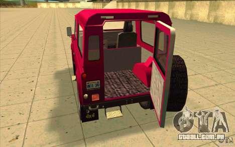 Land Rover Defender 90SW para GTA San Andreas vista interior