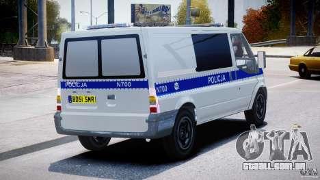 Ford Transit Polish Police [ELS] para GTA 4 vista interior