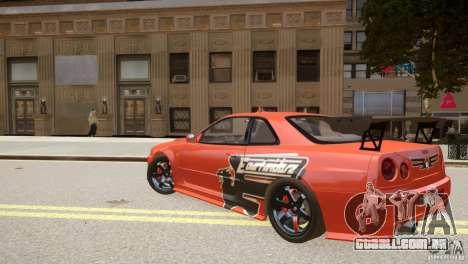 Nissan Skyline GT-R R34 Underground Style para GTA 4 traseira esquerda vista