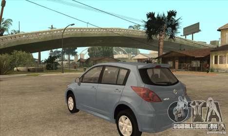 Nissan Tiida para GTA San Andreas traseira esquerda vista