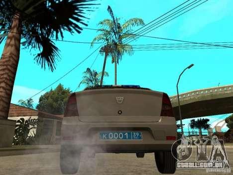 Dacia Logan Police para GTA San Andreas traseira esquerda vista