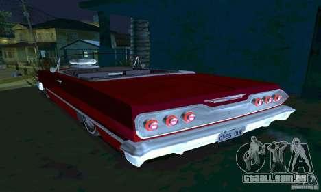 Chevrolet Impala 1963 Lowrider Charged para GTA San Andreas traseira esquerda vista