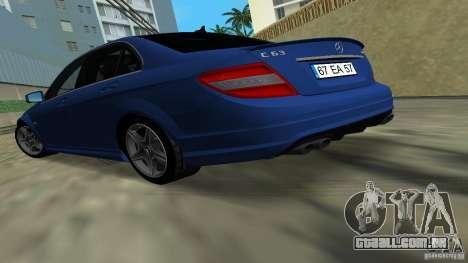 Mercedes-Benz C63 AMG 2010 para GTA Vice City deixou vista