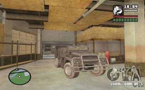 Caminhão militar para GTA San Andreas vista direita
