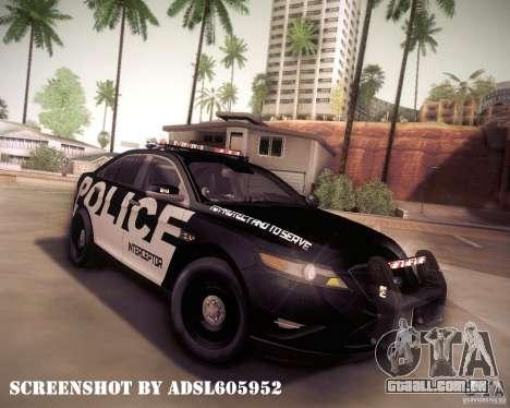 Ford Taurus Police Interceptor 2011 para GTA San Andreas vista superior