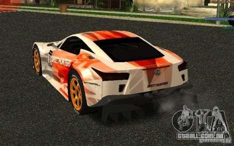 Lexus LFA Speedhunters Edition para GTA San Andreas traseira esquerda vista