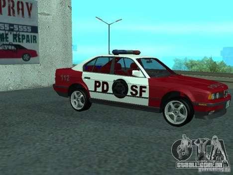 BMW 535i E34 Police para GTA San Andreas traseira esquerda vista