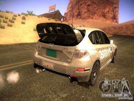 Subaru Impreza Gravel Rally para GTA San Andreas vista interior