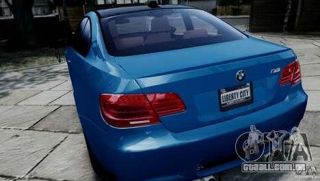 BMW M3 E92 ZCP 2012 para GTA 4 vista de volta
