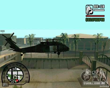 Blackhawk UH60 Heli para GTA San Andreas traseira esquerda vista