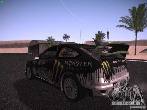 Ford Focus RS Monster Energy para GTA San Andreas vista direita