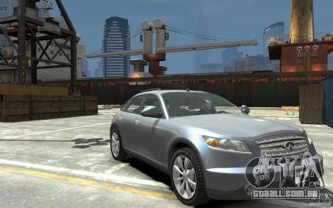 Infiniti FX45 para GTA 4 vista de volta