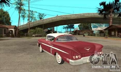 Chevrolet Impala 1958 para GTA San Andreas traseira esquerda vista