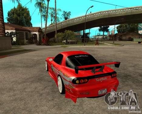 Mazda RX7 FnF para GTA San Andreas traseira esquerda vista