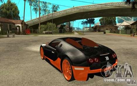 Bugatti Veyron Super Sport 2011 para GTA San Andreas traseira esquerda vista