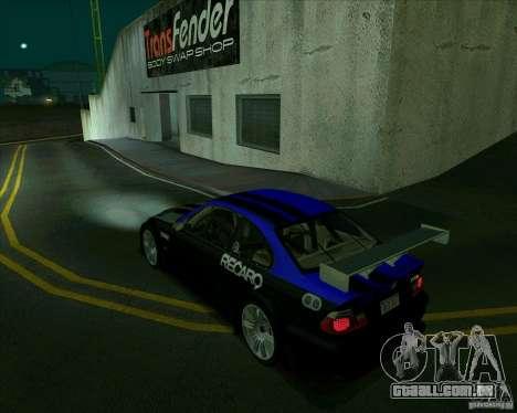 BMW M3 GTR Final para GTA San Andreas esquerda vista