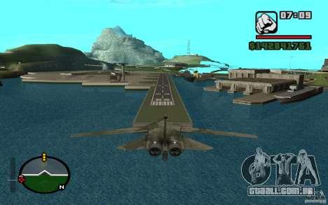 F-111 Aardvark para GTA San Andreas traseira esquerda vista