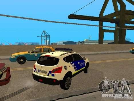 Nissan Qashqai Espaqna Police para GTA San Andreas vista direita