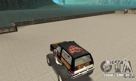 Chevrolet Blazer K5 Monster Skin 4 para GTA San Andreas traseira esquerda vista