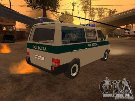 Volkswagen Transporter T4 Bosnian police para GTA San Andreas traseira esquerda vista