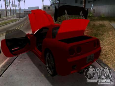 Chevrolet Corvette C5 para GTA San Andreas vista inferior