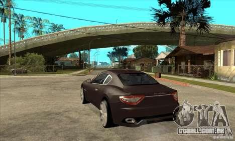Maserati Gran Turismo para GTA San Andreas traseira esquerda vista