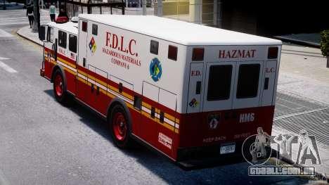 LCFD Hazmat Truck v1.3 para GTA 4 vista lateral