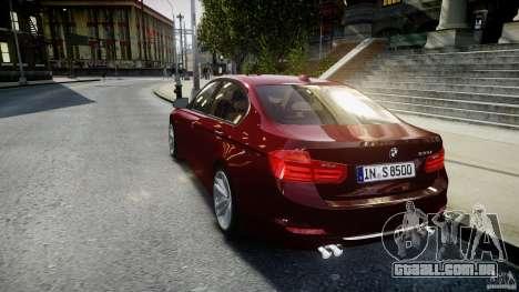 BMW 335i 2013 v1.0 para GTA 4 traseira esquerda vista